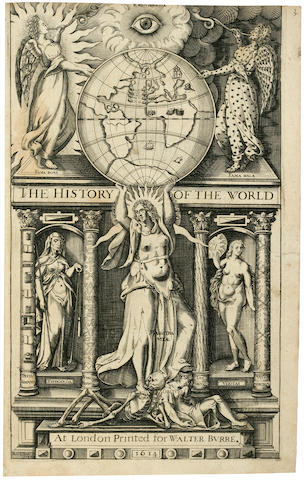 RALEIGH, WALTER, SIR. 1552?-1618. The History of the World.  London: printed for Walter Burre, 1614.<BR />