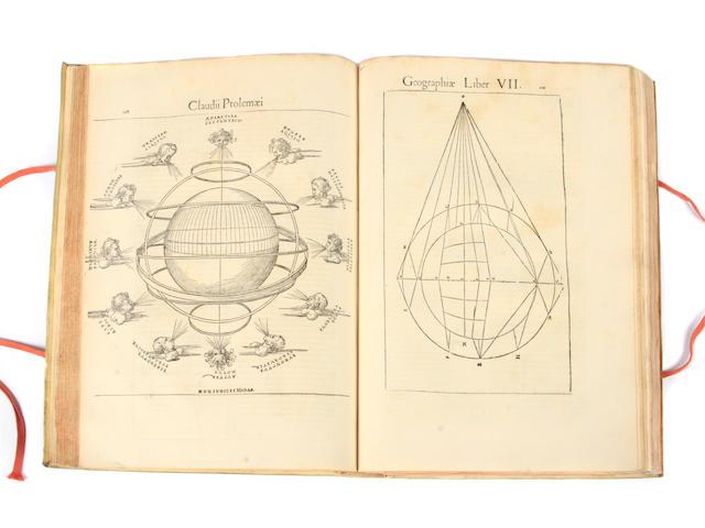 PTOLEMAEUS, CLAUDIUS. SERVETUS, MICHAEL (VILLANOVANUS). 1511?-1553. Geographicae enarrationis, libri octo. Vienna and Lyons: Gaspar Trechsel for Hugues de La Porte, 1541.