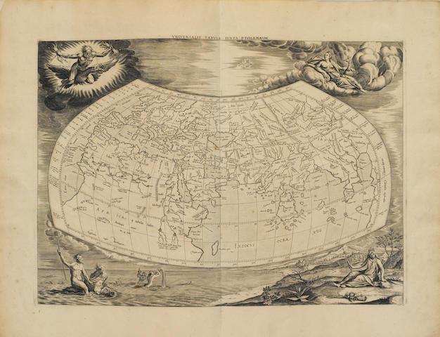 MERCATOR, GERHARD. 1512-1594. PTOLEMAEUS, CLAUDIUS.  Tabulae geographicae Orbis Terrarum veteribus cogniti. Utrecht: Francis Halmam and Franeker: Leonard Strik, 1695.<BR />
