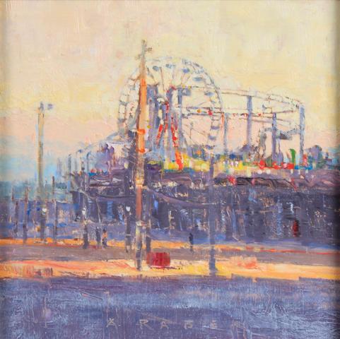 April Raber (American) Santa Monica Pier 12 x 12in