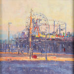 April Raber (American) Santa Monica Pier 12 x 12in