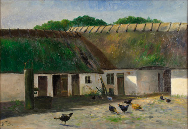 Danish School A farmhouse yard 13 x 19in