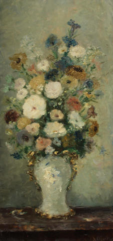 Dietz Edzard (German, 1893-1963) A still life with a vase of mixed flowers 34 3/4 x 17in