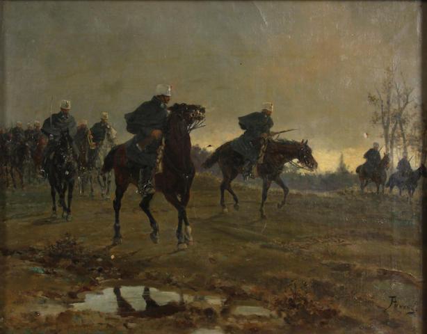 Sebastiano Panunzi (Italian) Military cavalry 14 x 17 3/4in