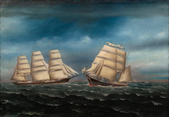 English School Two ships at sea 20 x 28 1/4in