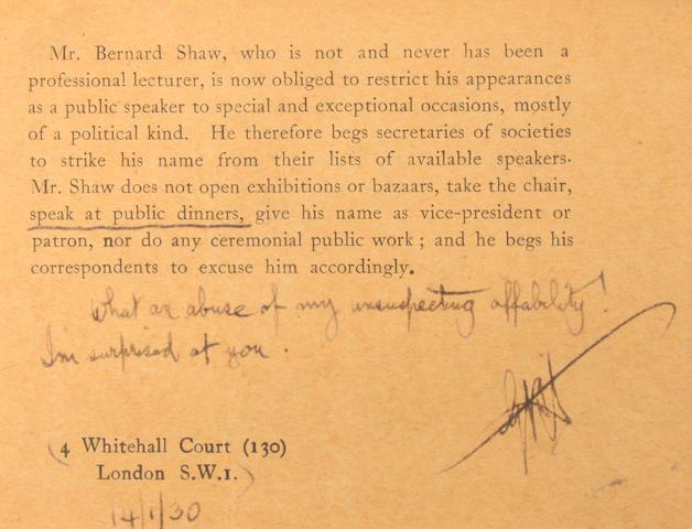 SHAW, GEORGE BERNARD. SGD postcard
