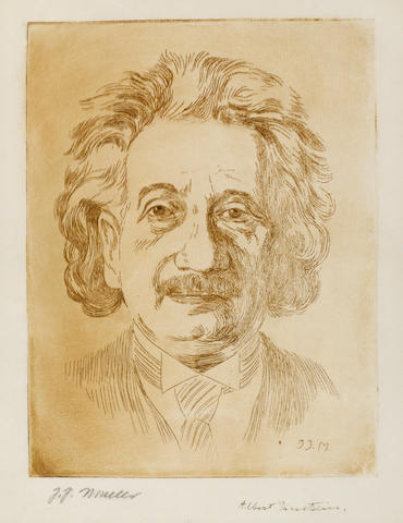 "EINSTEIN, ALBERT. 1879-1955. Engraved Portrait Signed (""Albert Einstein"") in lower margin, by J.J. Muller, 1934,"