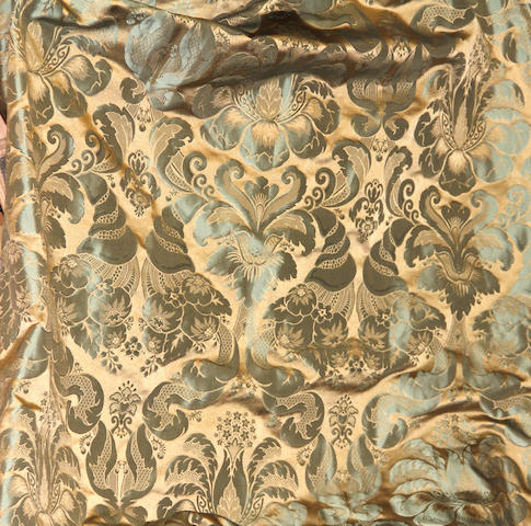 A group of eight sage damask and ivory silk drapes