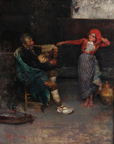 Arturo Stagliano (Italian, 1870-1936) A peasant playing a bagpipe and a child dancing 20 x 16in