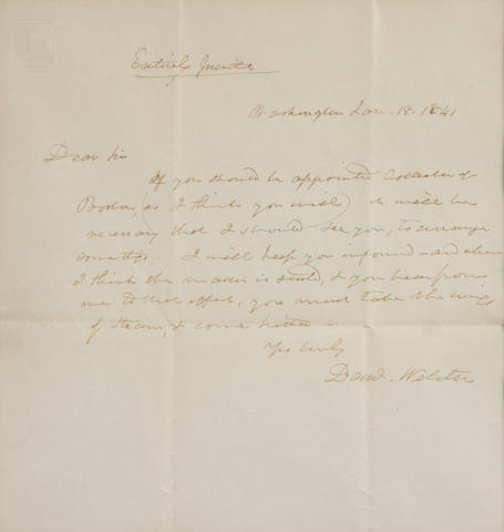 "WEBSTER, DANIEL. 1782-1852. Autograph Letter Signed (""Daniel Webster""), 1 p, 8vo, Northampton, MA, January, 18, 1841, folding creases,"