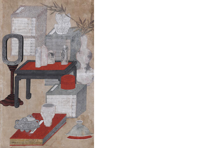Two Korean Chaekkori paintings 19th century