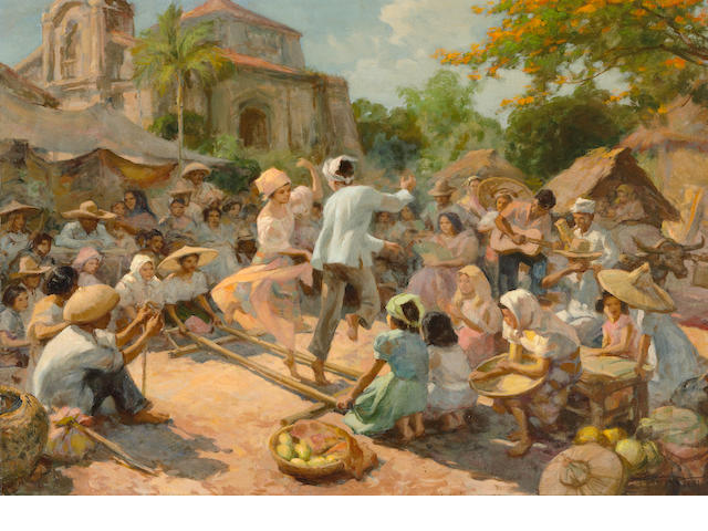 Fernando Amorsolo Y Cueto(1892-1972) The Tinikling Dance, oil on canvas, framed