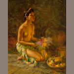 Fernando Amorsolo Y Cueto(1892-1972) Young Woman with Fruits and Flowers, oil on canvas, framed