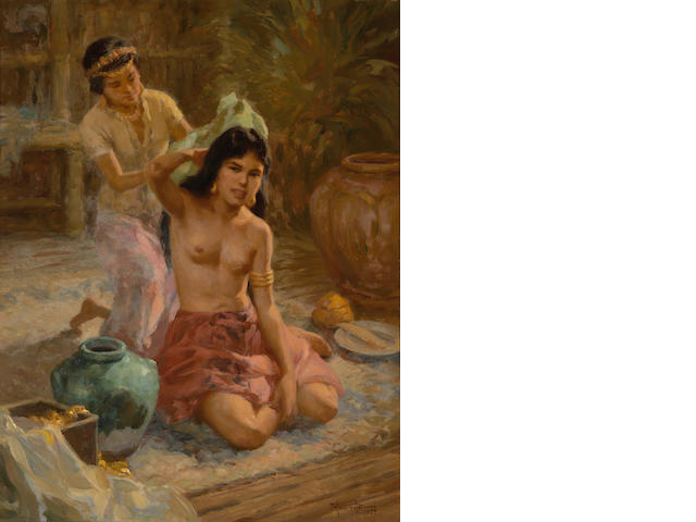 Fernando Amorsolo Y Cueto(1892-1972) Princess Urduja, oil on canvas, framed