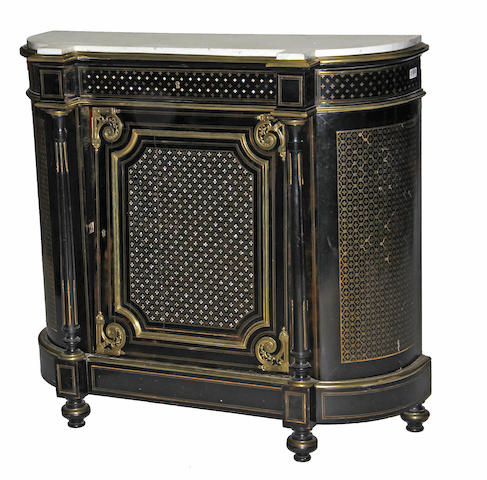A Napoleon III ebonized cut brasswork meuble d'appui third quarter 19th century