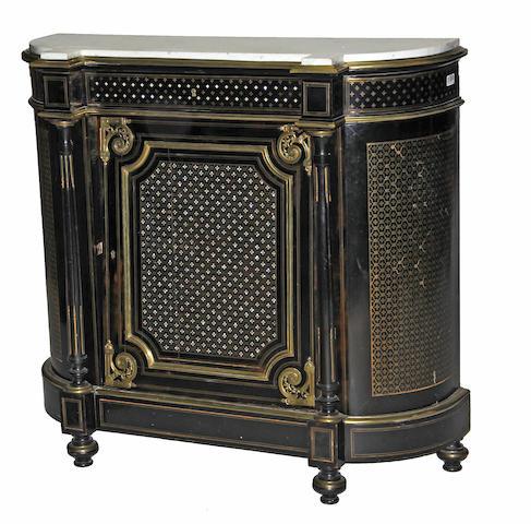A Napoleon III ebonized cut brasswork marble top meuble d'appui 19th century