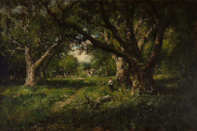 William Keith (Scottish/American, 1838-1911) A clearing among the oaks, Alameda 24 1/4 x 36 1/4in