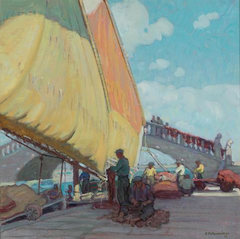 Ernest Martin Hennings, Fisherman mending nets, provenance: Andrew Loomis, private collection Fishermen mending nets, Port of Vigo, Spain 14 x 14in