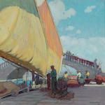 Ernest Martin Hennings, Fisherman mending nets, provenance: Andrew Loomis, private collection Fishermen mending nets, Port of Vigo, Spain 14 x 14in