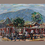 Phil Latimer Dike (American, 1906-1990) Drying peppers, San Fernando Valley 20 x 24 1/4in