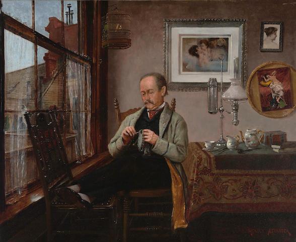 Henry Alexander (American, 1860-1894) Darning 22 1/4 x 27 1/4in
