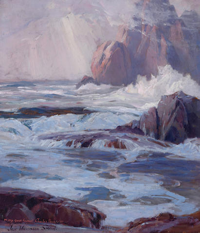 Jack Wilkinson Smith (American, 1873-1949) Rocky coast 16 x 14in