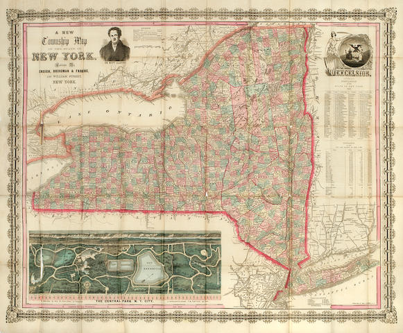 NEW YORK CITY—CENTRAL PARK. ENSIGN, BRIDGMAN & FANNING. A New Township Map Of The State Of New York. New York, [1860].<BR />