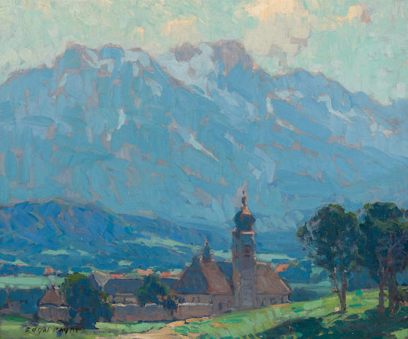 Edgar Payne (1883-1947) Swiss village scene 20 1/4 x 24 1/4in