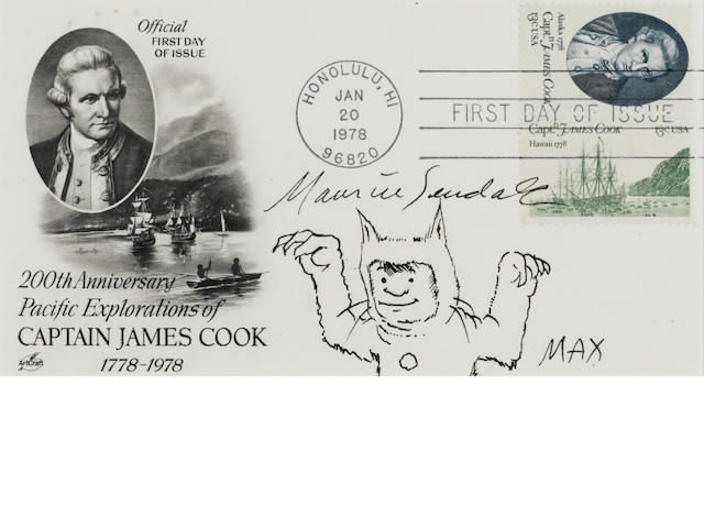"SENDAK, MAURICE.  1928-2012. Original sketch of Max in his wolf suit, signed (""Maurice Sendak""), on first day cover"