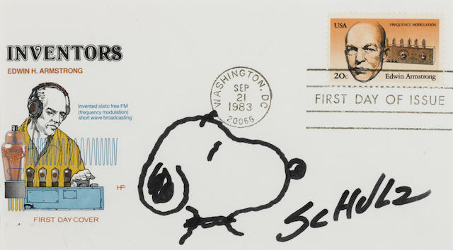 """SCHULZ, CHARLES.  1922-2000. 2 pen and ink sketches of Snoopy, both signed (""""Schulz""""), the first in blue ink on a first day US Airmail cover postmarked New York, November 16,  1973, the second in black ink on an Edwin Armstrong first day cover postmarked Washington, DC, September 21, 1983,"""