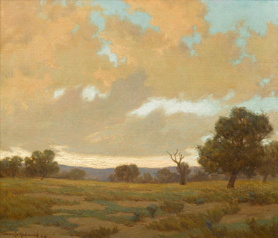 Granville Redmond (American, 1871-1935) Clouds gathering above a Marin landscape, 1908 24 x 28in