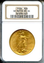 1908 $20 No Motto MS64 NGC