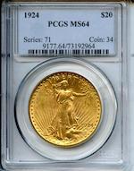 1924 $20 MS64 PCGS
