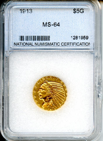 1913 $5 MS64 NNC