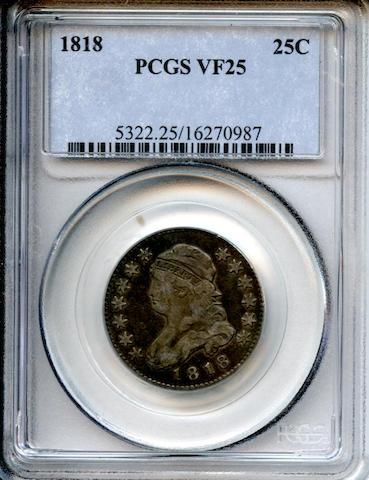 1818/5 25C VF25 PCGS