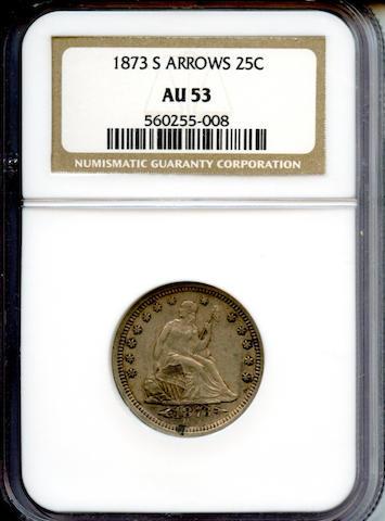 1873-S Arrows 25C AU53 NGC