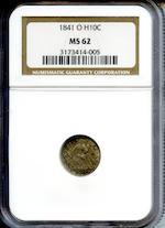 1841-O H10C MS62 NGC
