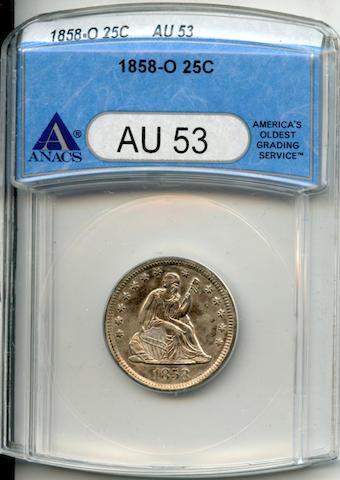 1858-O 25C AU53 ANACS