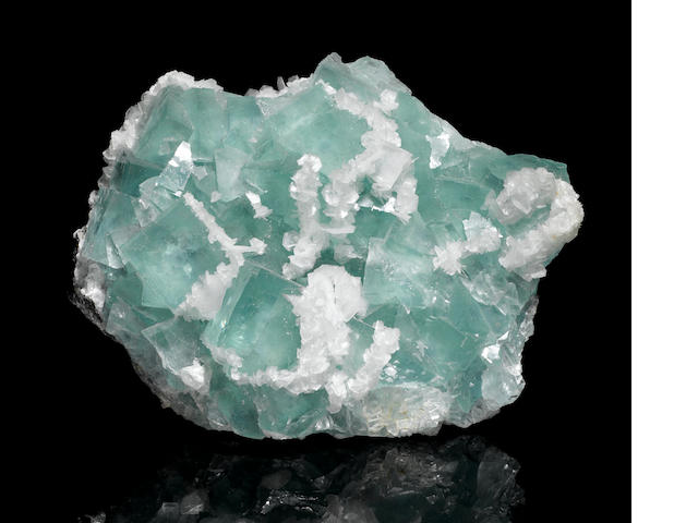 Impressive Green Fluorite with Calcite