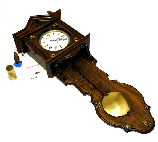 A German walnut single weight regulator wall clock late 19th century