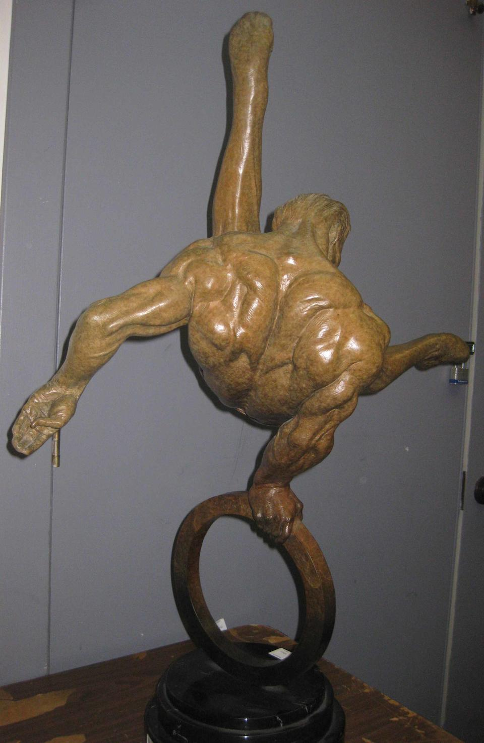 An American contemporary patinated bronze figure: Flair Across America: The Gymnast  Richard MacDonald (American, born 1946) 1995, second state, #69/175