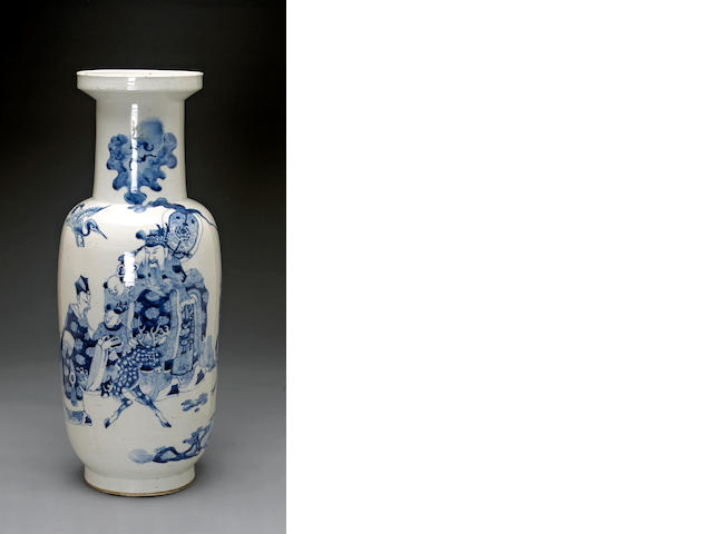 A large blue and white porcelain baluster vase  Ming Jiajing mark, Republic perio
