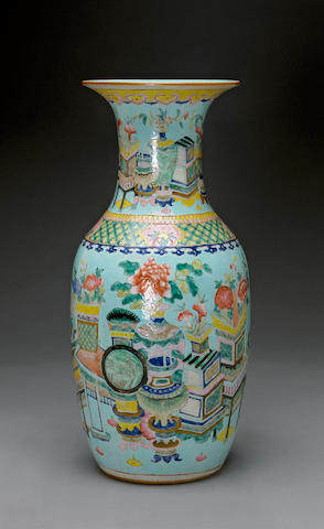 A turquoise ground enameled porcelain vase Late Qing dynasty