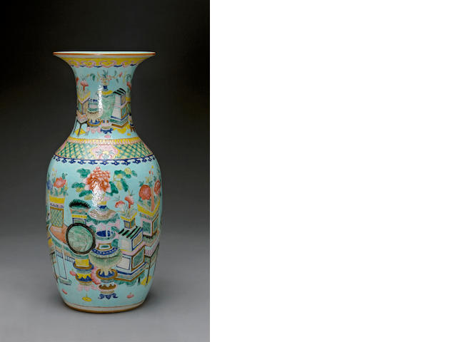 A turquoise ground enameled porcelain vase  Late Qing