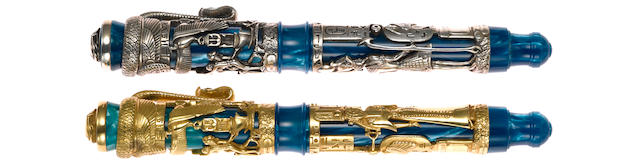 MONTEGRAPPA: Luxor Blue Nile: Set of Two Gold & Silver Limited Edition Fountain Pens