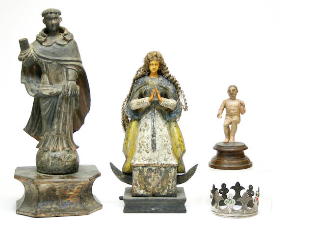 Three Spanish colonial carved and polychrome wood figures 19th/20th century
