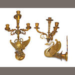 A pair of Empire style gilt bronze four light bras de lumière fourth quarter 20th century