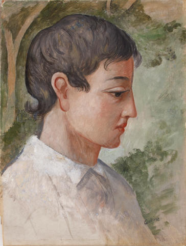 Otakar (Othon) Coubine (Czechoslovakian, 1883-1969) Portrait of a young man in profile 13 3/4 x 10 1/2in