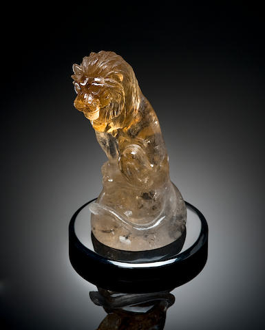 Natural Citrine Carved lion
