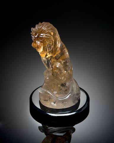 Natural Citrine Carved lion